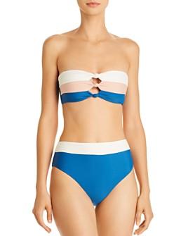 PilyQ - Knot Bandeau Bikini Top & High-Waist Bikini Bottom