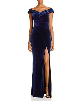 Aidan Mattox - Off-the-Shoulder Velvet Gown - 100% Exclusive