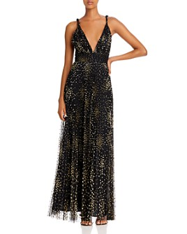 Jill Jill Stuart - Pleated Metallic-Dot Tulle Gown