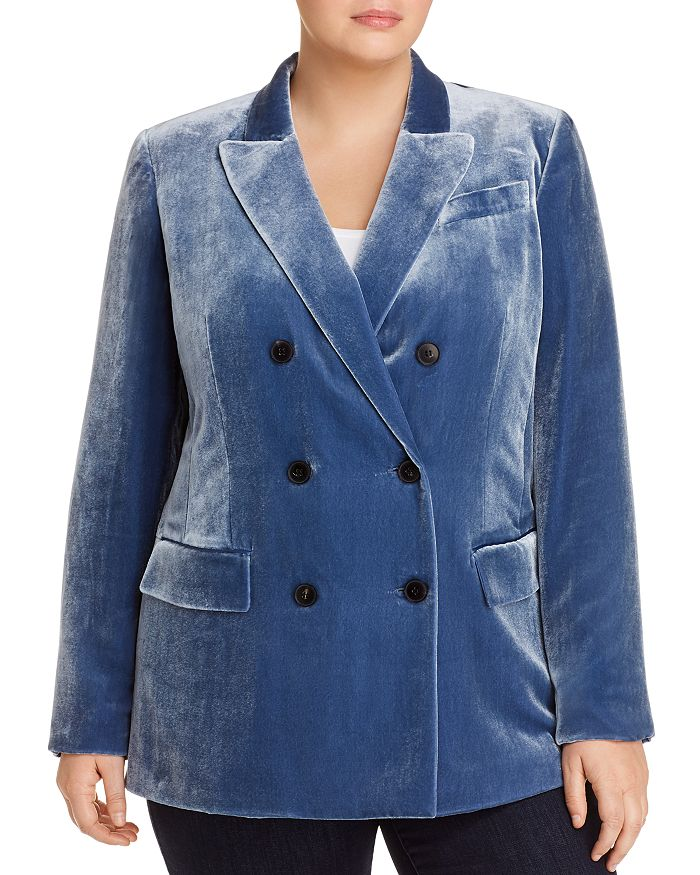 Lafayette 148 New York Plus - Slade Double-Breasted Velvet Blazer