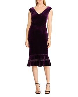 Ralph Lauren - Fluted Lace Inset Velvet Dress