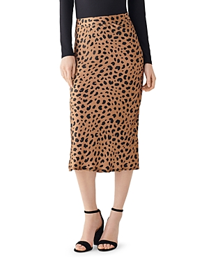 DL1961 x Marianna Hewitt Bank St. Animal Print Silk Midi Skirt-Women