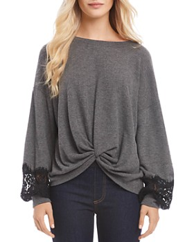 Karen Kane - Lace-Sleeve Twist-Front Sweater