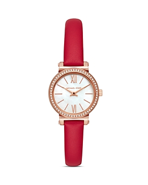 Michael Kors Sofie Red Leather Strap Watch, 26mm