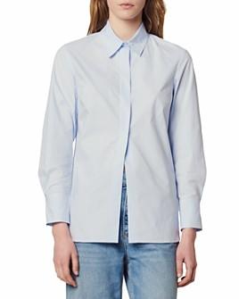 Sandro - Adama Slit-Hem Cotton Shirt