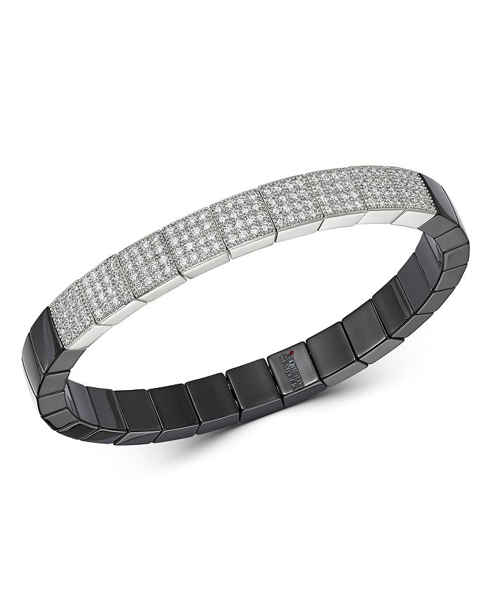 Roberto Demeglio - 18K White Gold & Black Ceramic Scacco Stretch Bracelet with Diamonds
