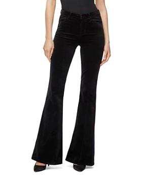 J Brand - Valentina Velvet High-Rise Jeans in Black
