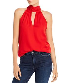 MILLY - Emma Stretch Silk-Blend Tie Neck Top