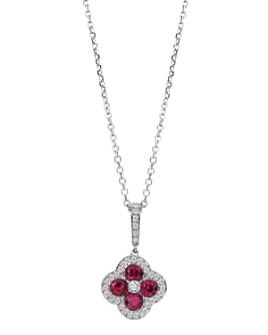 "Gumuchian - 18K White Gold Fleur Diamond & Ruby Pendant Necklace, 18"""