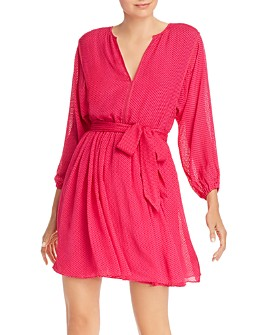 Joie - Favia Flocked Belted Dress