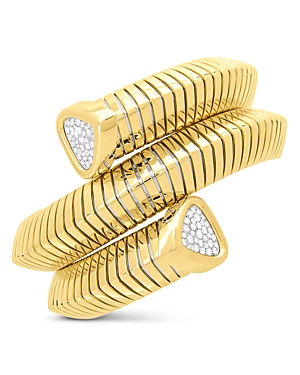 18K Yellow Gold Trisola Bangle Bracelet with Diamonds