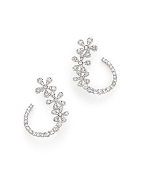 Bloomingdale's - Diamond Flower Front-to-Back Earrings in 14K White Gold, 1.0 ct. t.w. - 100% Exclusive
