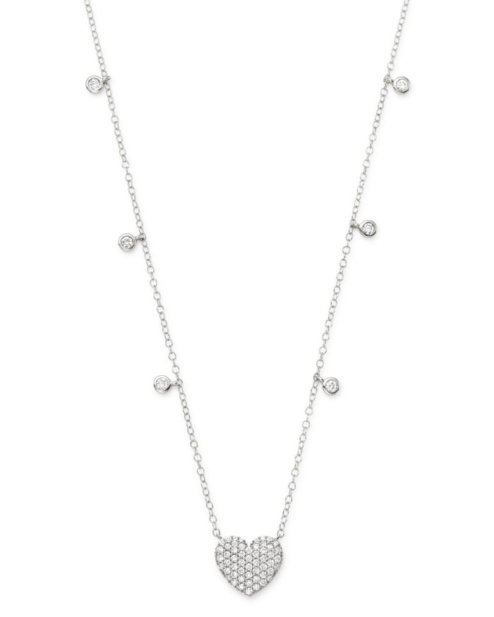 Bloomingdale's Diamond Heart Pendant Necklace in 14K White Gold, 0.50 ct. t.w. - 100% Exclusive  | Bloomingdale's