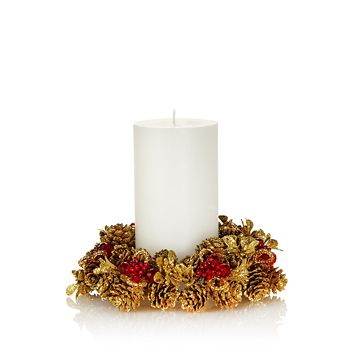 "Salzburg Creations - 4"" Rustic Holiday Candle Ring"