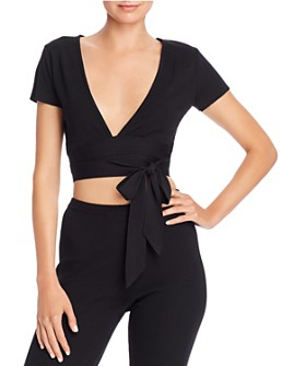 Tiger Mist - Lucy Ribbed Tie-Detail Cropped Top