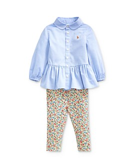Ralph Lauren - Girls' Peplum Shirt & Floral Leggings Set - Baby