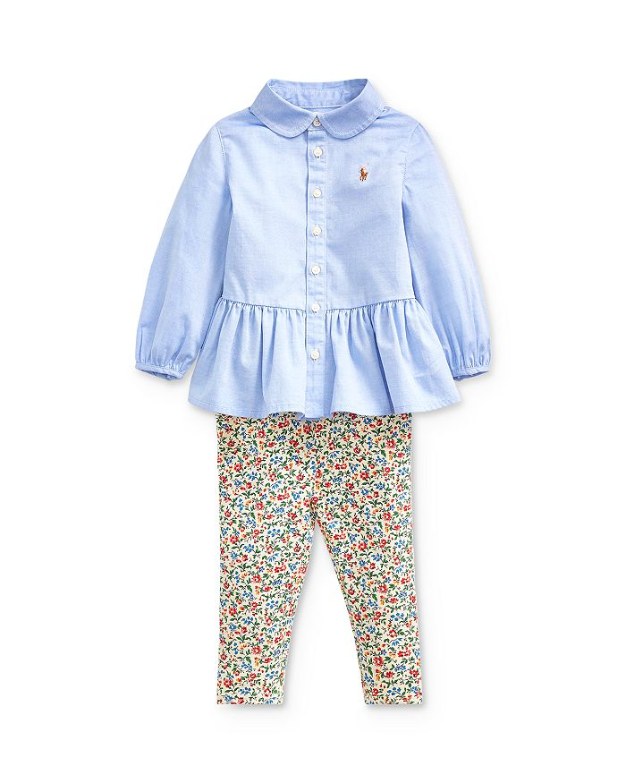 Ralph Lauren - Girls' Peplum Shirt & Floral Leggings Set - Baby