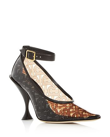 Burberry - Women's Monogram Ankle-Strap Pointed-Toe Pumps