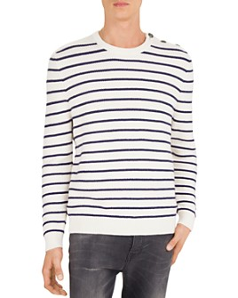 The Kooples - Striped Cotton & Cashmere Crewneck Sweater