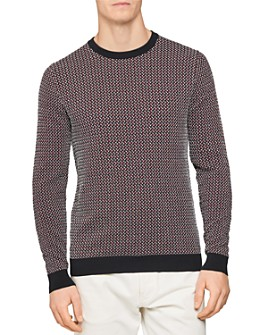 REISS - Luxton Dogtooth Crewneck Sweater