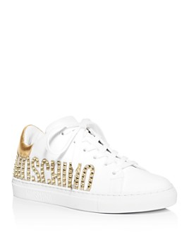 Moschino - Women's Embellished Logo Low-Top Sneakers