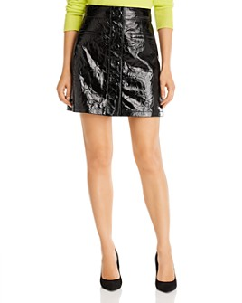 7 For All Mankind - Patent Leather Button-Front Mini Skirt