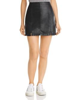 AG - Paneled Faux Leather Mini Skirt