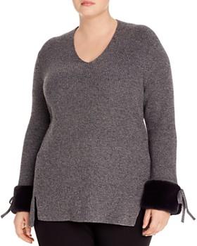 NIC and ZOE Plus - Faux-Fur-Cuff Sweater