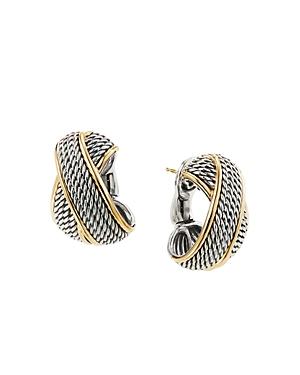 David Yurman Sterling Silver & 18K Yellow Gold Origami Crossover Shrimp Earrings