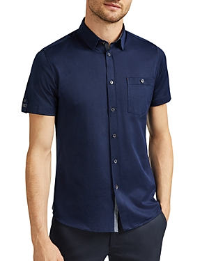 Ted Baker T-shirts BROAD SHORT-SLEEVE HONEYCOMB-TEXTURED SLIM FIT SHIRT
