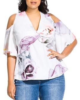 City Chic Plus - Floral-Print Cold-Shoulder Top