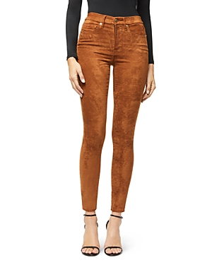 Good American Good Waist Faux Suede Pants in Tobacco01-Women