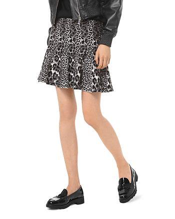MICHAEL Michael Kors - Pleated Leopard Jacquard Mini Skirt