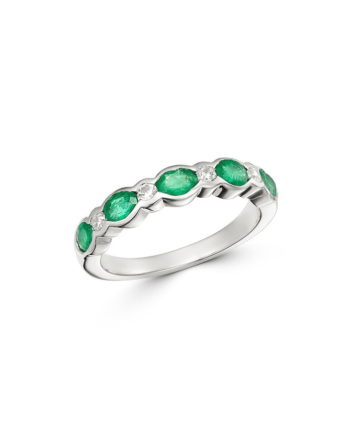 Bloomingdale's - Emerald &  Diamond Band in 14K White Gold  - 100% Exclusive