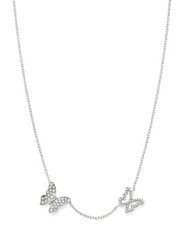 "Bloomingdale's - Pavé Diamond Butterfly Necklace in 14K White Gold, 16""-18"" - 100% Exclusive"