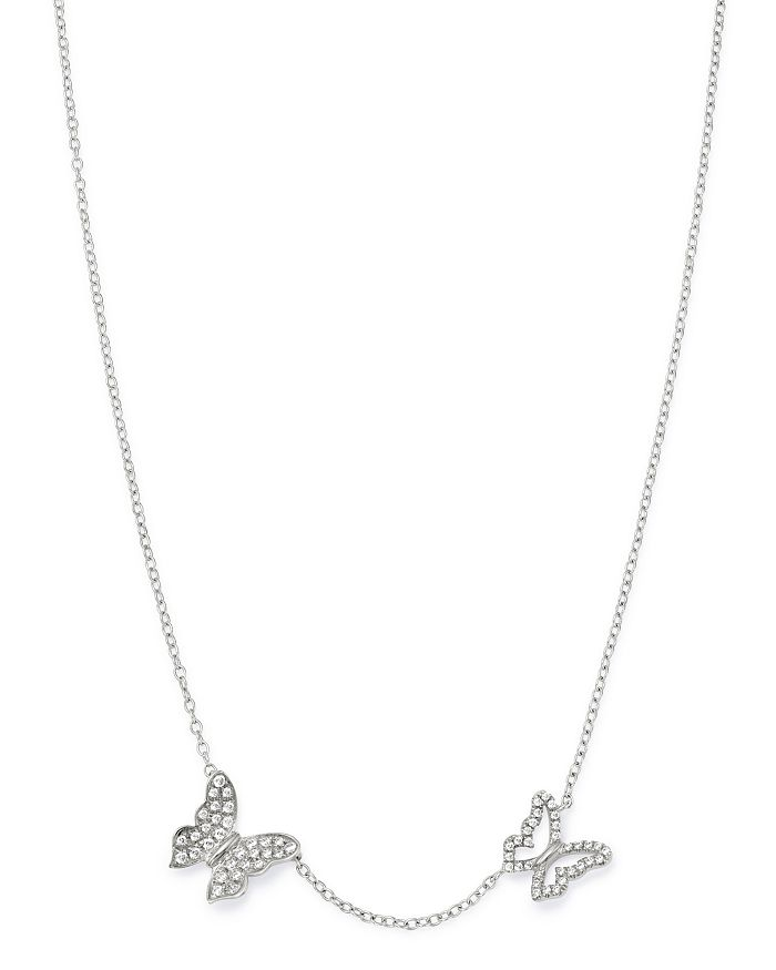 """Bloomingdale's - Pavé Diamond Butterfly Necklace in 14K White Gold, 16""""-18"""" - 100% Exclusive"""