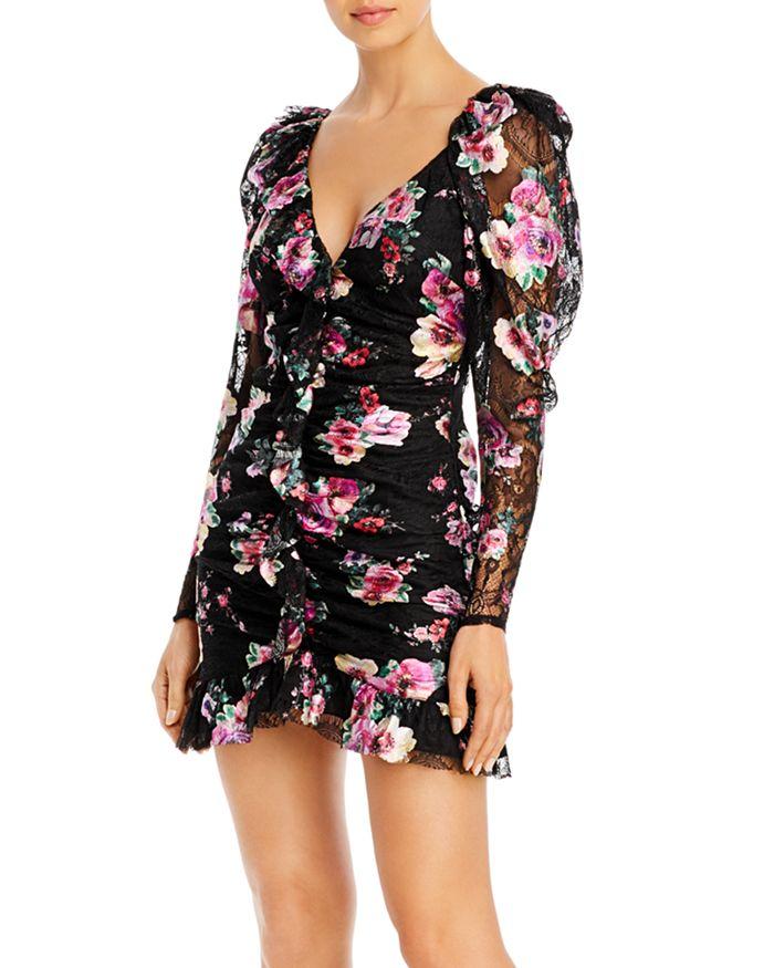 For Love & Lemons - Benatar Foiled Floral Mini Dress
