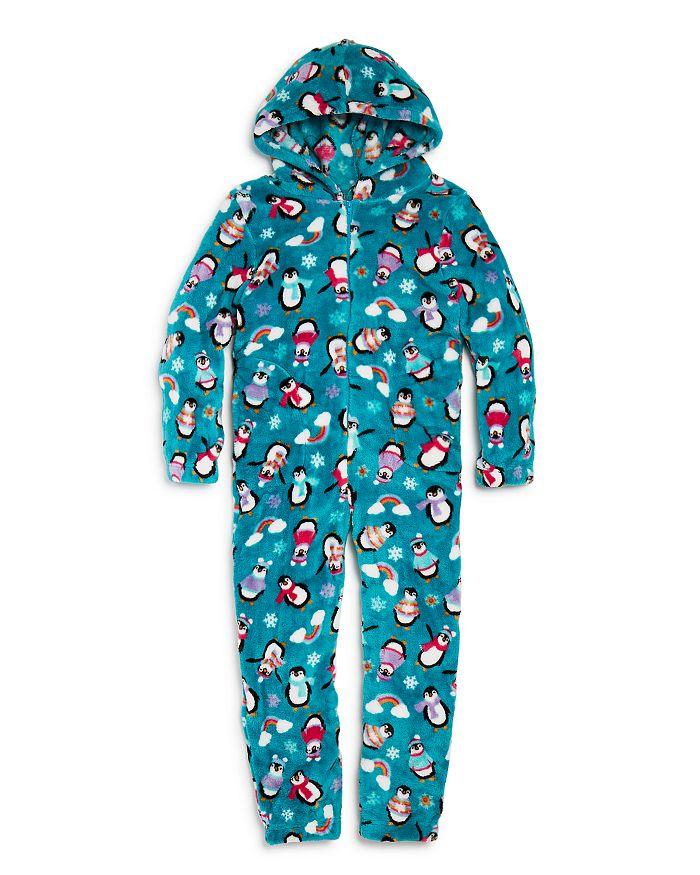 Candy Pink - Girls' Penguin Print One-Piece Pajamas - Little Kid, Big Kid
