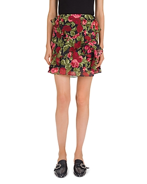 The Kooples Painted Roses Embroidered Floral Mini Skirt
