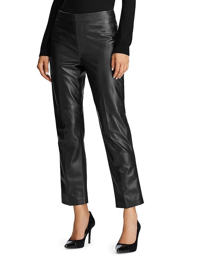 Ralph Lauren - Straight-Leg Leather Ankle Pants