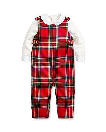 Ralph Lauren - Boys' Bodysuit & Plaid Overalls Set - Baby