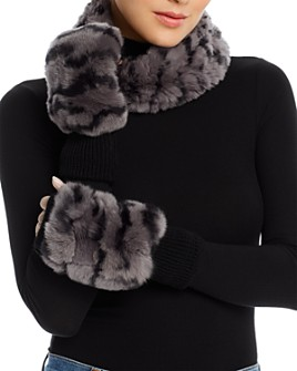 Jocelyn - Knit Rabbit Fur Cowl & Rabbit-Fur Trim Fingerless Mittens