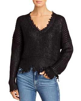 Elan - Frayed-Edge V-Neck Sweater