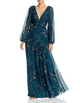 Amur - Twist-Front Floral Silk Long Sleeve Maxi Dress