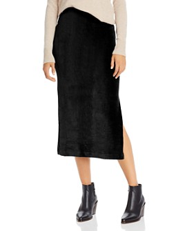 Free People - Helen Rib-Knit Velour Midi Skirt