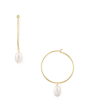 Argento Vivo Cultured Freshwater Pearl Charm Hoop Earrings in 18K Gold-Plated Sterling Silver-Jewelry & Accessories