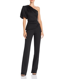 Black Halo - Brenna Puff Sleeve One-Shoulder Jumpsuit