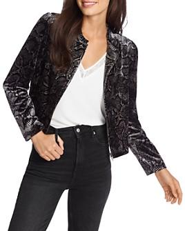 1.STATE - Snakeskin-Print Velvet Zip Jacket