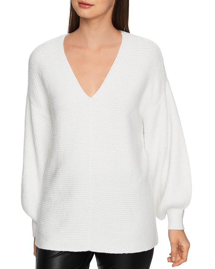 1.state Sweaters V-NECK BUBBLE-SLEEVE SWEATER