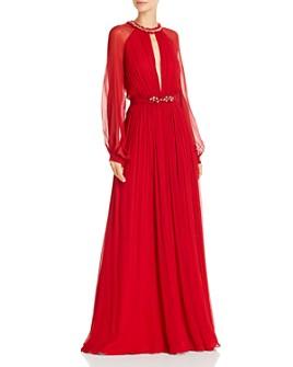 BCBGMAXAZRIA - Silk Chiffon Keyhole Gown with Swarovski Crystals